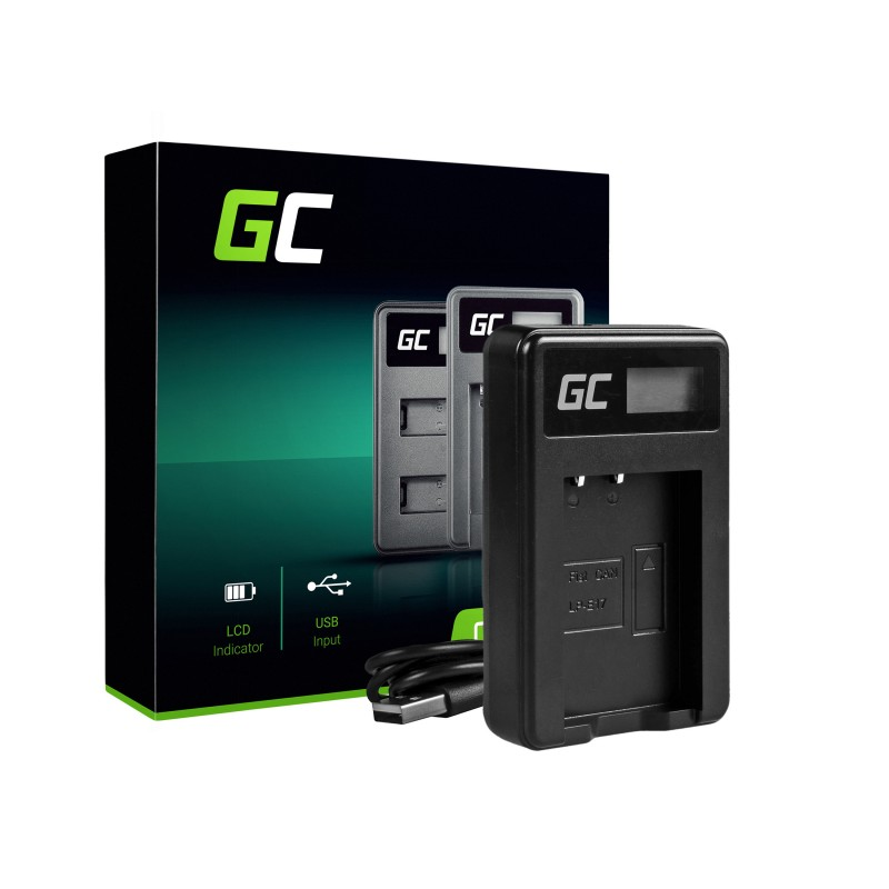 Camera Battery Charger LC-E17 Green Cell ® for Canon LP-E17, EOS 77D, 750D, 760D, 8000D, M3, M5, M6
