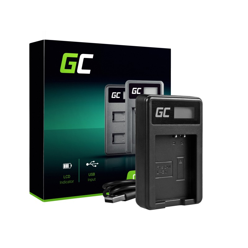 Camera Battery Charger LC-E10 Green Cell ® for LP-E10, EOS Rebel T3, T5, T6, Kiss X50, Kiss X70, EOS 1100D, EOS 1200D