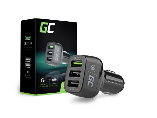 Green Cell Szybka Ładowarka Samochodowa 3 USB z Quick Charge 3.0