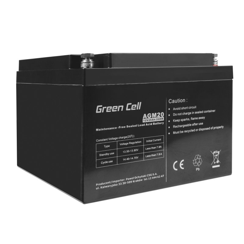Akumulator AGM VRLA Green Cell 12V 26Ah