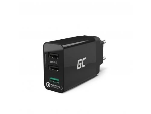 Universal Ladegerät Green Cell ® mit Schnellladefunktion 3 USB-Anschlüsse, QC 3.0