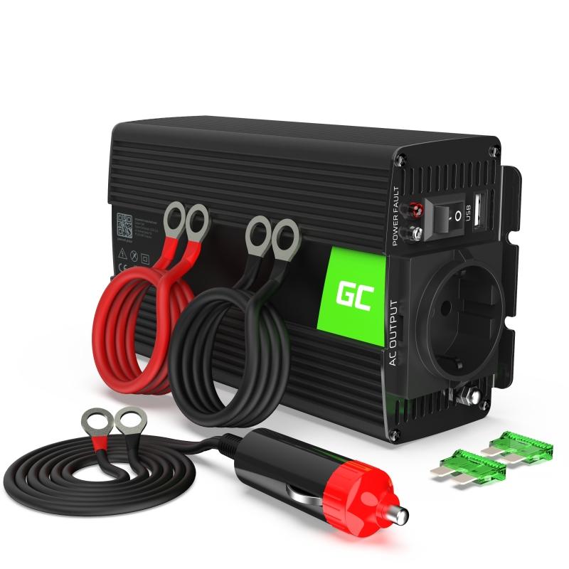 Car Power Inverter Green Cell® 24V to 230V, 500W/1000W