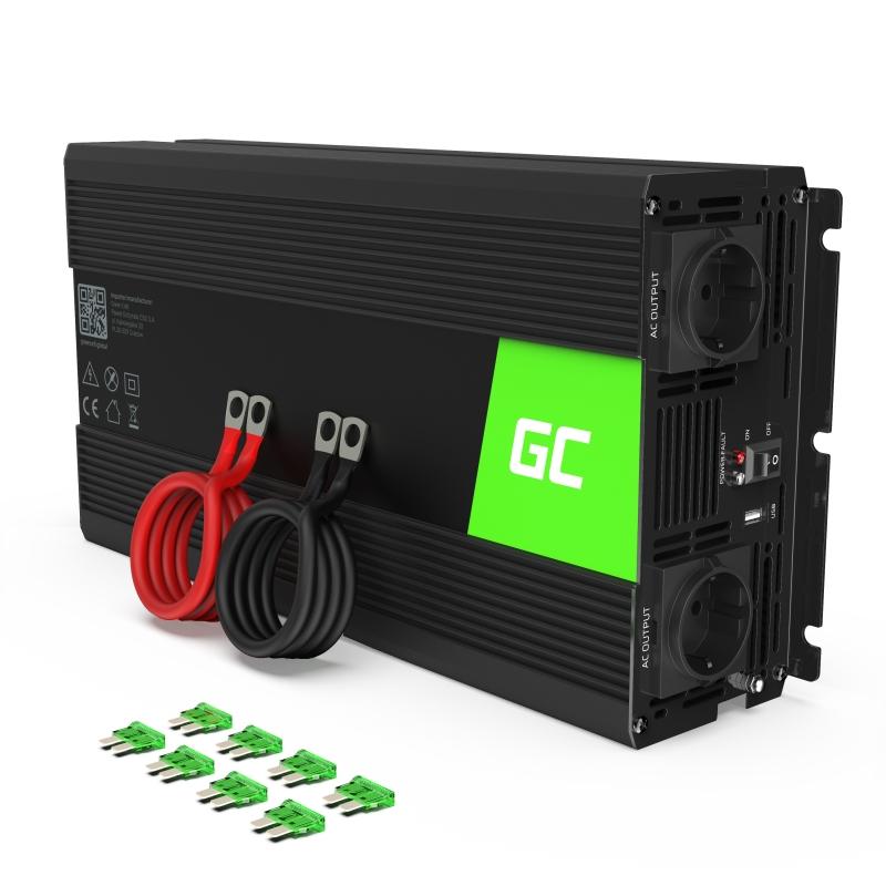 Car Power Inverter Green Cell® 24V to 230V, 1500W/3000W