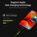 Set 3x Green Cell GC Ray Lightning 120cm Cable with white LED backlight, fast charging Apple 2.4A