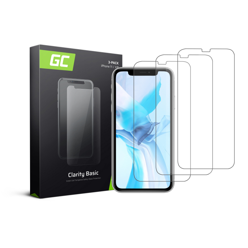 3x Screen Protector for Apple iPhone 11 / iPhone XR Tempered Glass GC Clarity 9H Military Grade