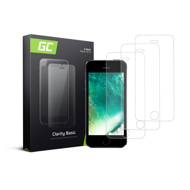 3x Screen Protector for Apple iPhone 5 / 5S / 5C / SE Tempered Glass GC Clarity 9H