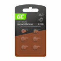 Blister - 6 pcs Green Cell Hearing Aid Batteries Typ 312 P312 PR41 ZL3 Zinc Zinc-Air for hearing aids and otoplastics