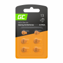 Blister - 6 pcs Green Cell Hearing Aid Batteries  Typ 13 P13 PR48 ZL2 Zinc Zinc-Air for hearing aids and otoplastics