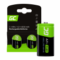 Green Cell Rechargeable batteries 2x C R14 HR14 Ni-MH 1.2V 4000mAh