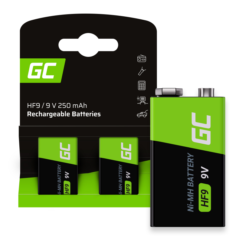 Batteries Rechargeable 2x 9V HF9 Ni-MH 8000mAh Green Cell