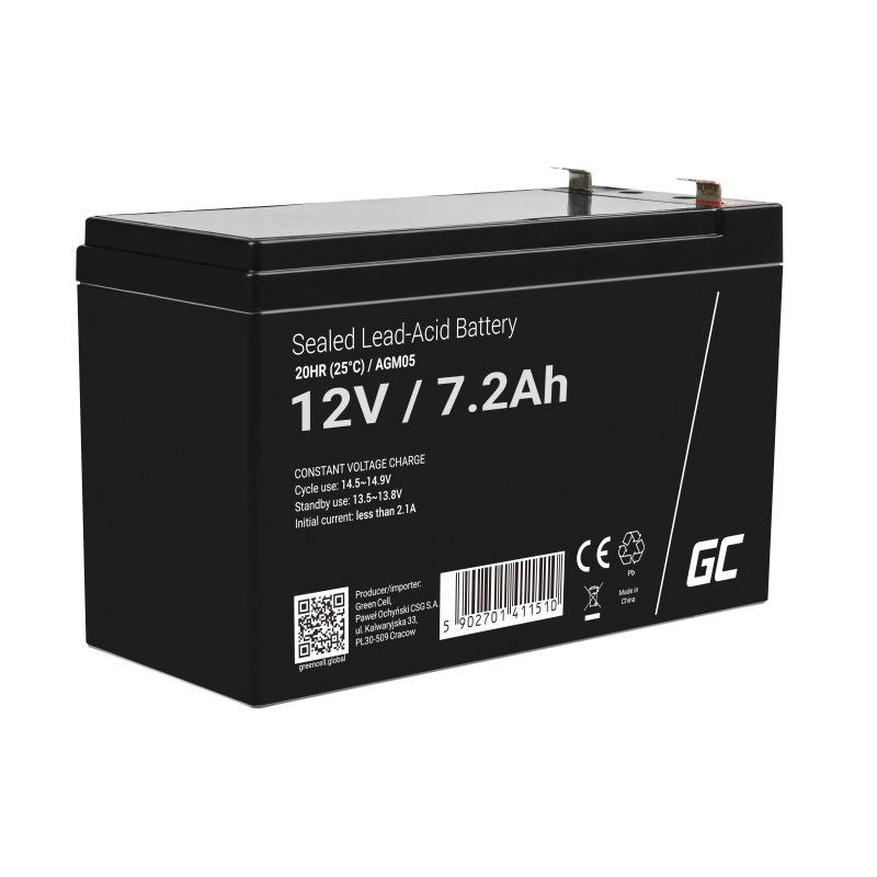 Green Cell ® Gel Battery AGM 12V 7.2Ah