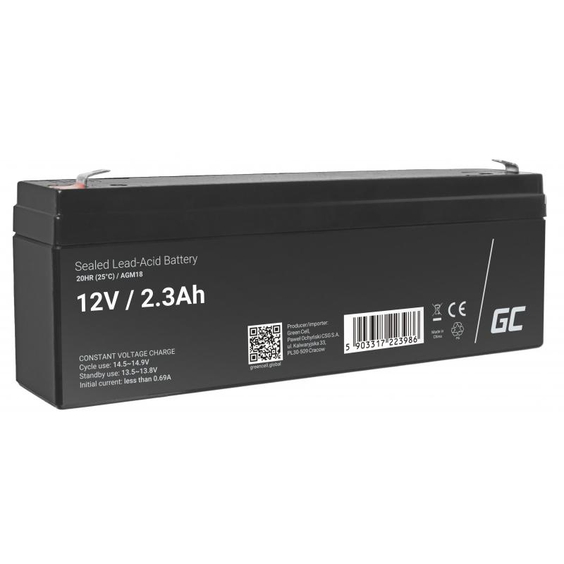 Green Cell ® Gel Battery AGM VRLA 12V 2.3Ah