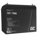Green Cell® AGM 12V 75Ah VRLA Battery Gel deep cycle powerchair photovoltaic leisure battery campervan