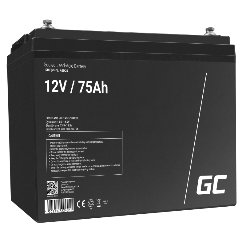 Green Cell ® Gel Battery AGM VRLA 12V 75Ah