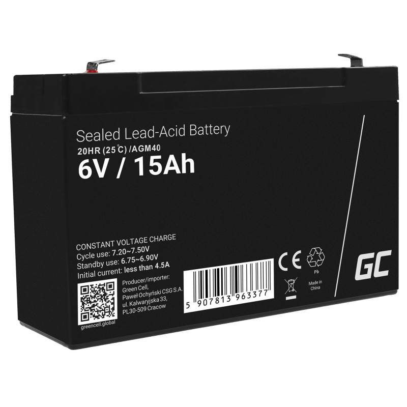 AGM Battery Lead Acid 6V 15Ah Maintenance Free Green Cell for alarm and lighting