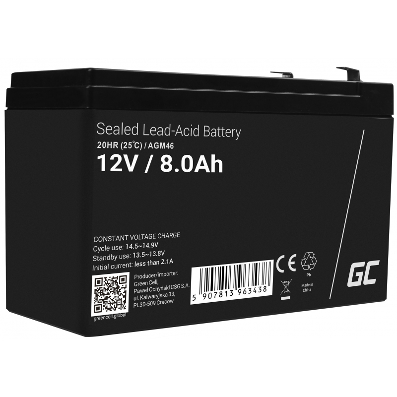 AGM Battery Lead Acid 12V 8Ah Maintenance-free for UPS and emergency systems