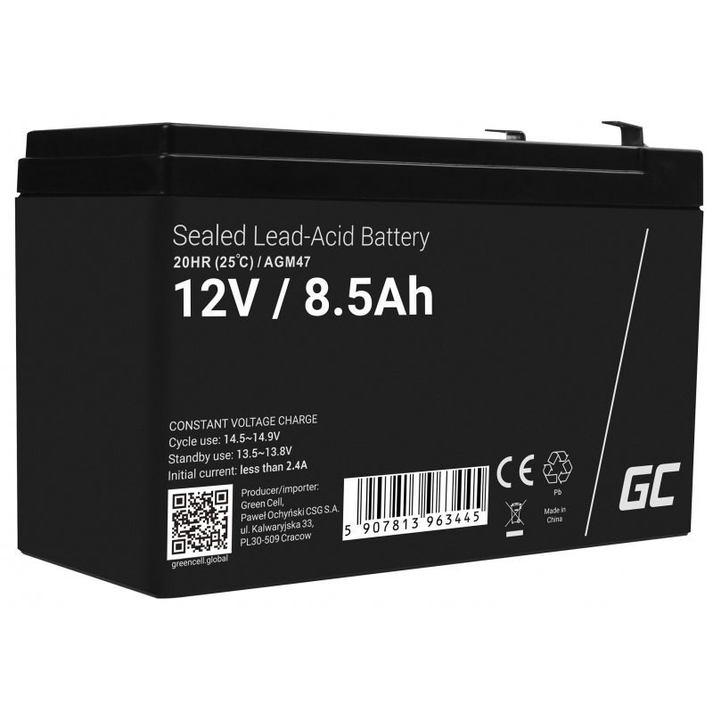 AGM Battery Lead Acid 12V 8.5Ah Maintenance Free Green Cell for inverter and monitoring