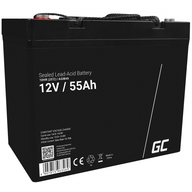 AGM Battery Lead Acid 12V 55Ah Maintenance Free Green Cell for boat and dinghy