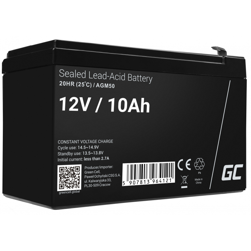 AGM Battery Lead Acid 12V 10Ah Maintenance Free Green Cell for UPS and probes