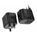 Green Cell GC TripCharge PRO Universaladapter zur Steckdose mit USB-A Ultra Charge und USB-C Power Delivery 18W Ports