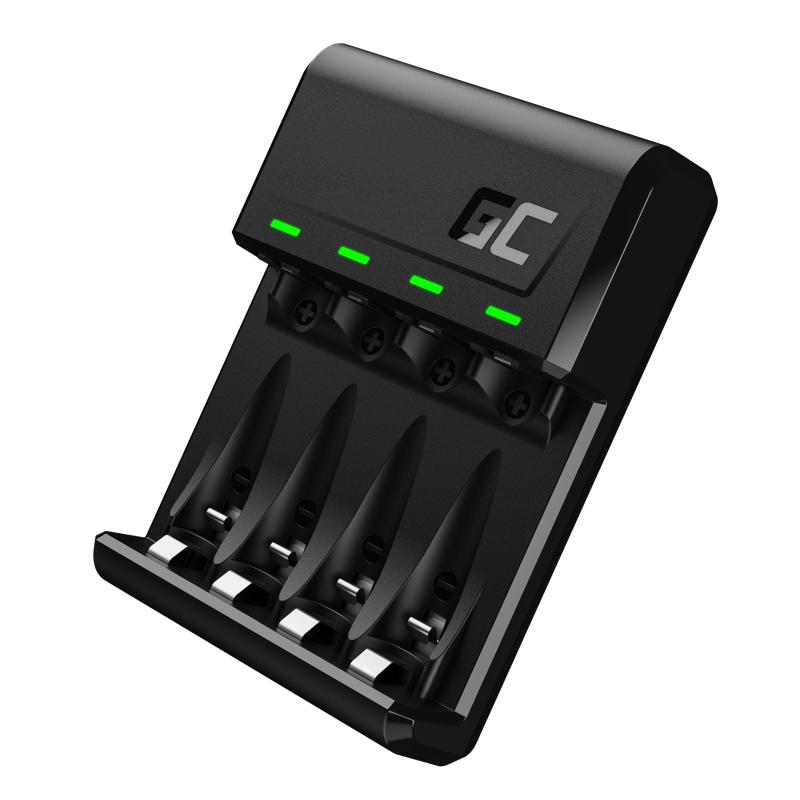 Green Cell GC VitalCharger Batterieladegerät für Ni-MH AA und AAA Akkus mit Micro USB und USB-C