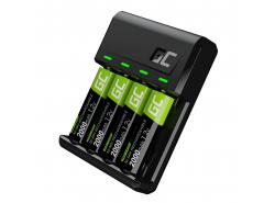 Green Cell GC VitalCharger Batterieladegerät für AA und AAA + 4x AA 2000mAh NiMM Akkus