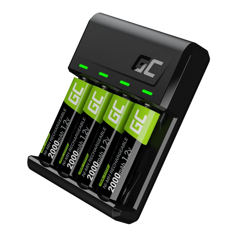 Green Cell GC VitalCharger Batterieladegerät für Ni-MH AA und AAA Akkus + 4x AA 2000mAh NiMM Akkus