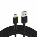 Green Cell GC Ray USB cable - USB-C 120cm, green LED, ultra Charge fast charging, QC 3.0