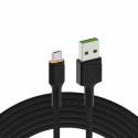 Kabel Green Cell Ray USB-A - microUSB orange LED 200cm mit Unterstützung für Ultra Charge QC3.0-Schnellladung