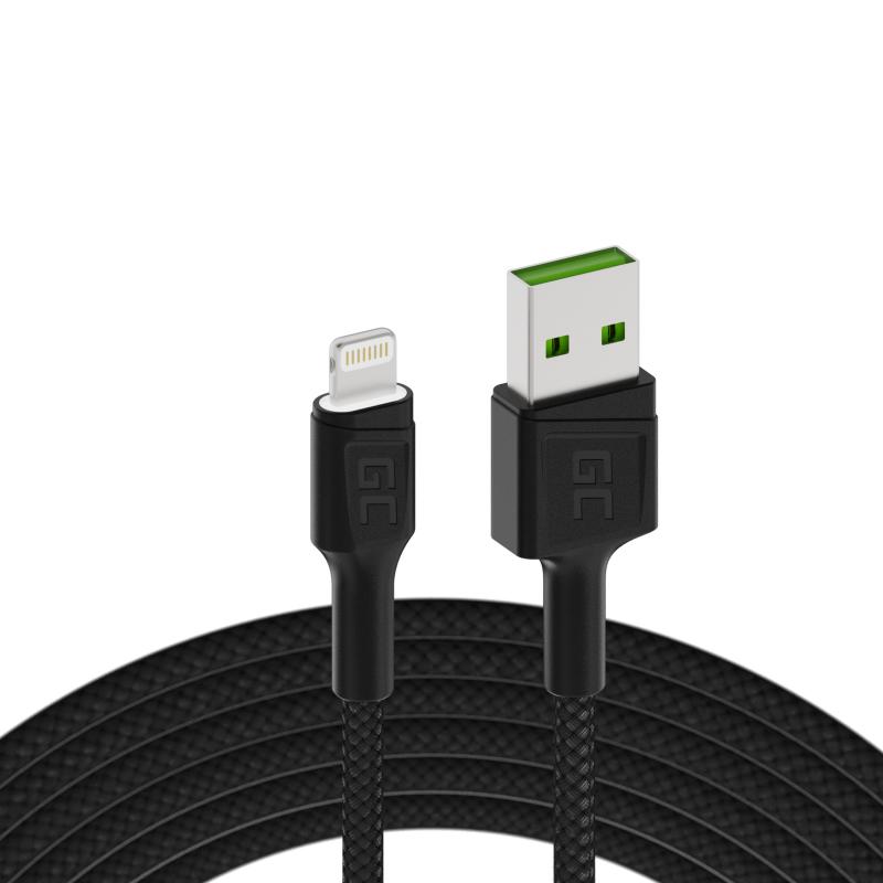 Kabel Green Cell Ray USB-A - Lightning Weiß LED 200cm mit Unterstützung für Apple 2.4A-Schnellladung