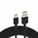 Kabel Green Cell Ray USB-A - USB-C Grüne LED 200cm mit Unterstützung für Ultra Charge QC3.0-Schnellladung