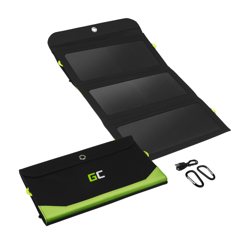 Solar Charger Green Cell GC SolarCharge 21W - Solar Panel with 10000mAh power bank function USB-C Power Delivery 18W USB-A QC