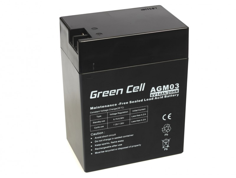 Green Cell ® Gel Battery AGM 6V 14Ah