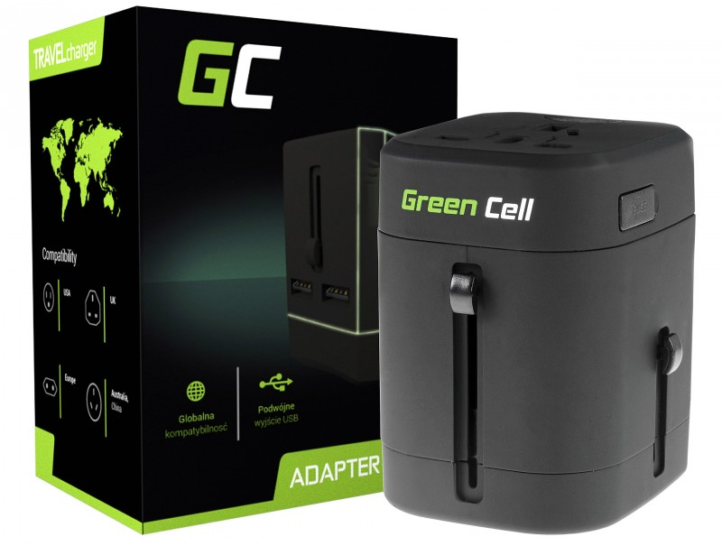 Green Cell ® Universaladapter zur Steckdose mit USB-Ports